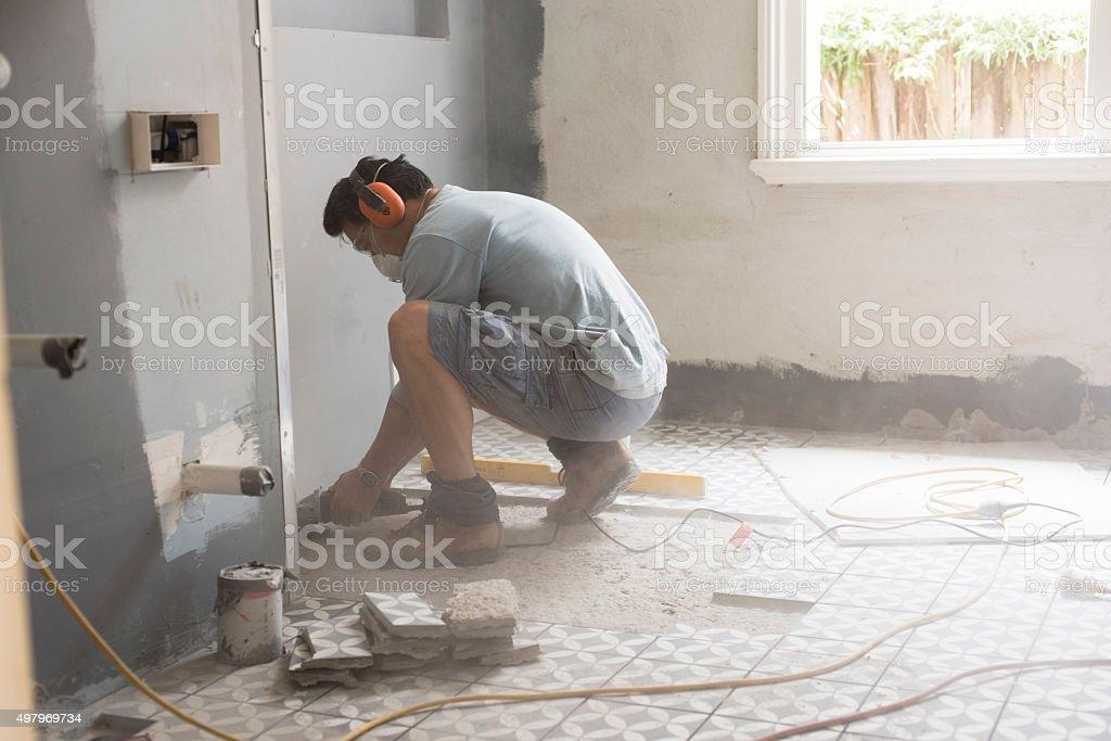 Preparing The Bathroom Floor For Tiling Stock Photo & More