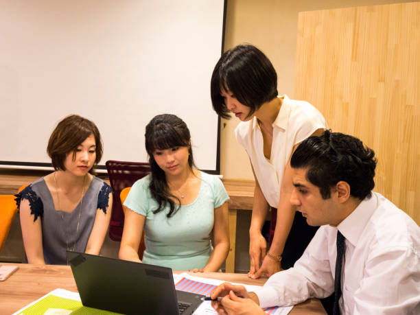 Preparing the document in international group. stock photo
