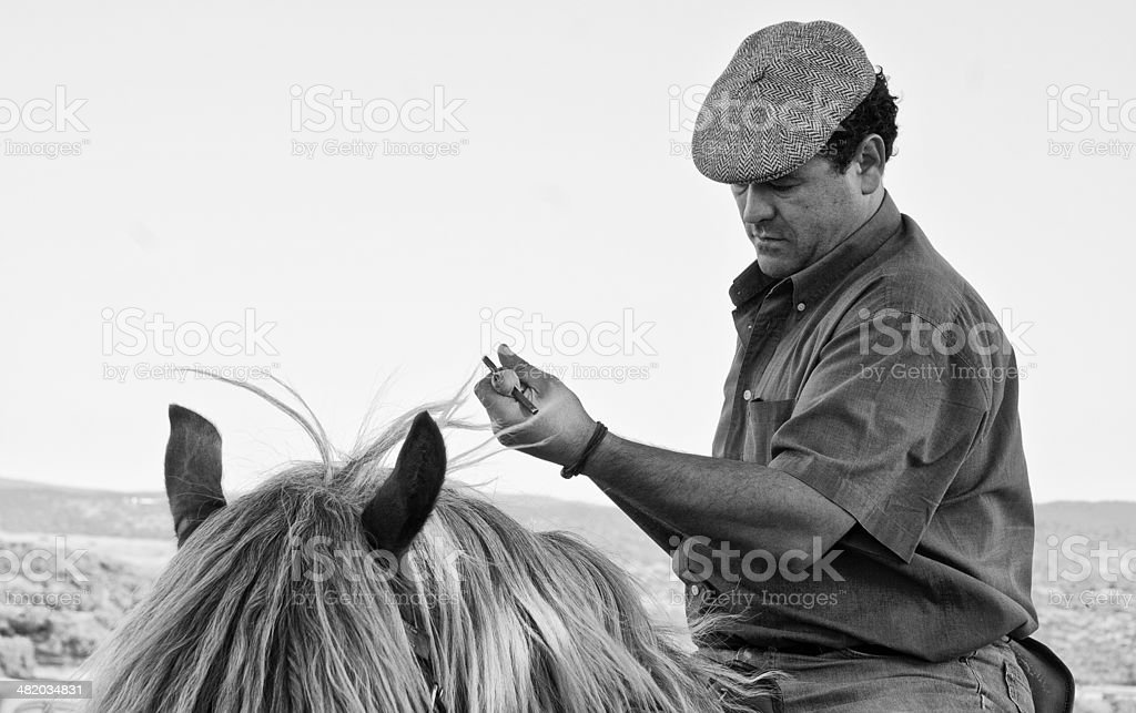Preparing the lance stock photo