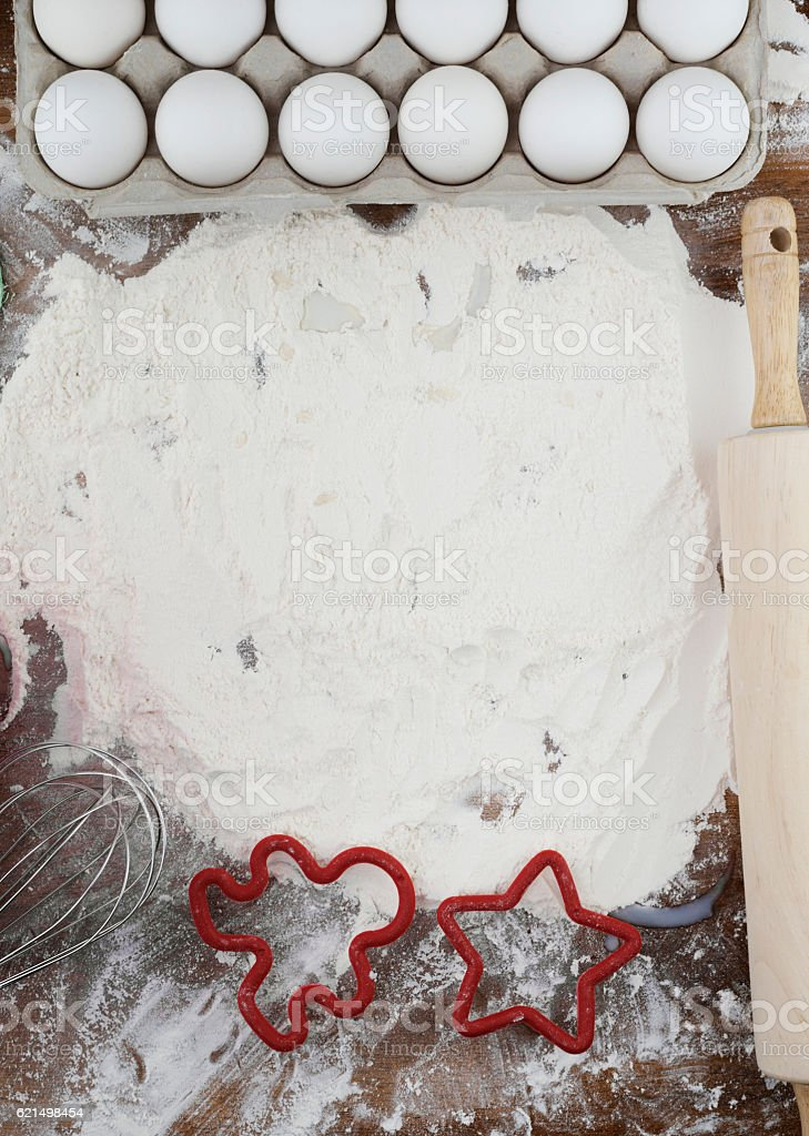 Preparing to bake cookies, with flour and eggs photo libre de droits