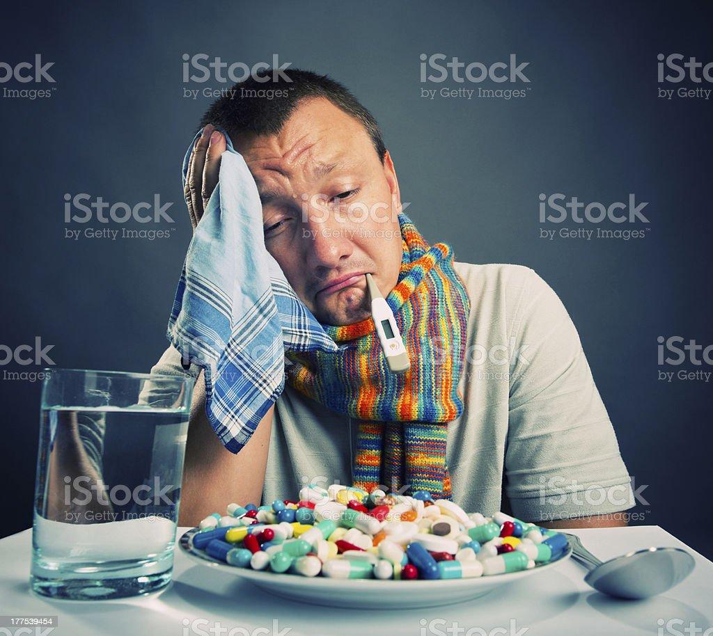 Preparing to eat medicines royalty-free stock photo