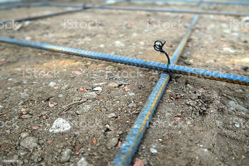 Preparing To Make A Concrete Driveway Rebar Wire Ties Stock Photo ...