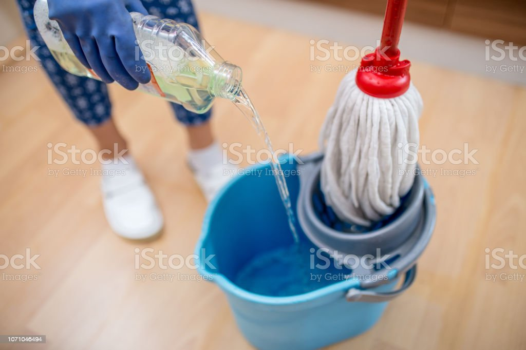 Preparing to mop the floor stock photo