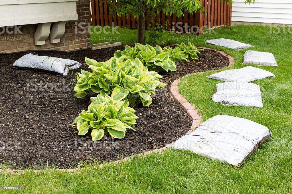 Preparing to mulch the garden in spring stock photo