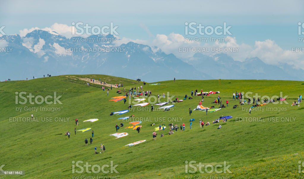 Preparing to Paraglide over Monte Baldo and Lake Garda in Italy stock photo