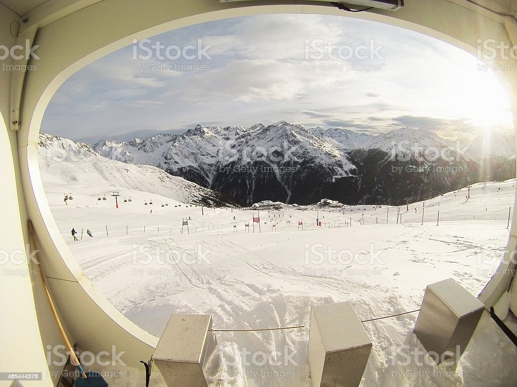 Preparing to start for the giantslalom slope GoPro image stock photo