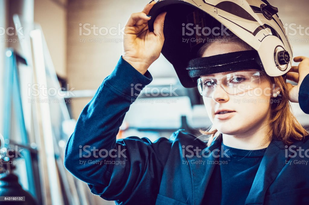 Preparing to weld stock photo