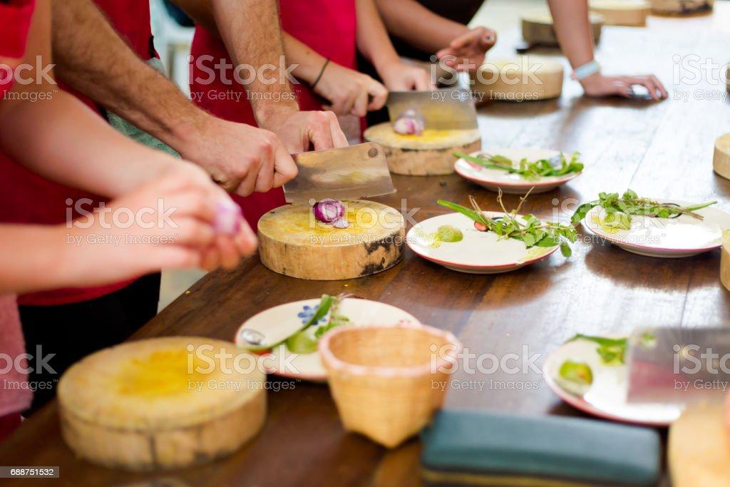 Preparing traditional thai food stock photo