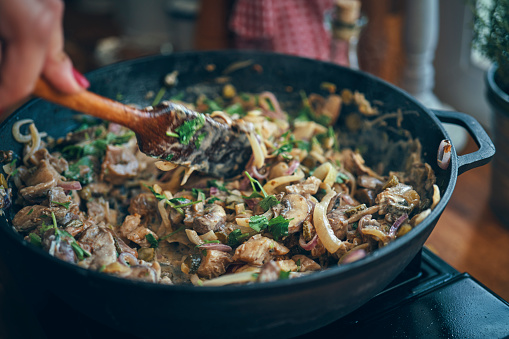 Preparing Vegan Mushroom Stroganoff