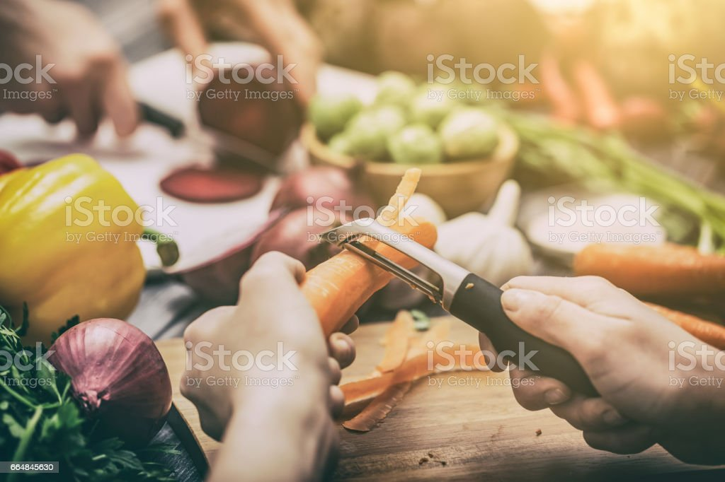 Preparing vegetables for a meal. stock photo