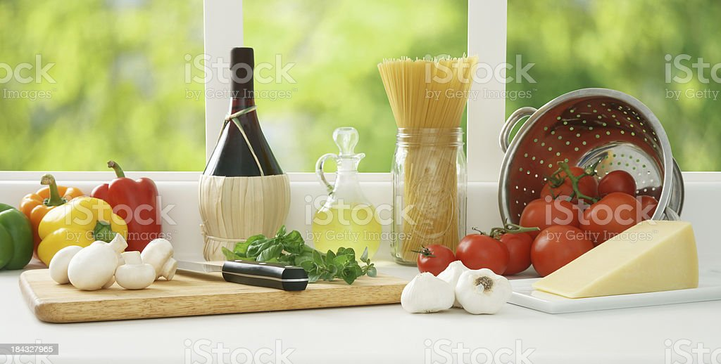 Preparing Vegetarian Spaghetti royalty-free stock photo