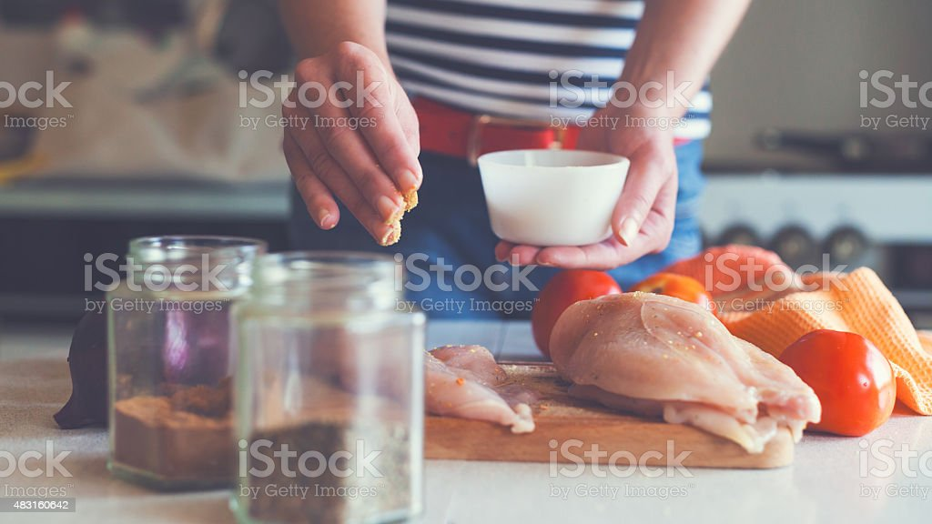 preparing white meat stock photo