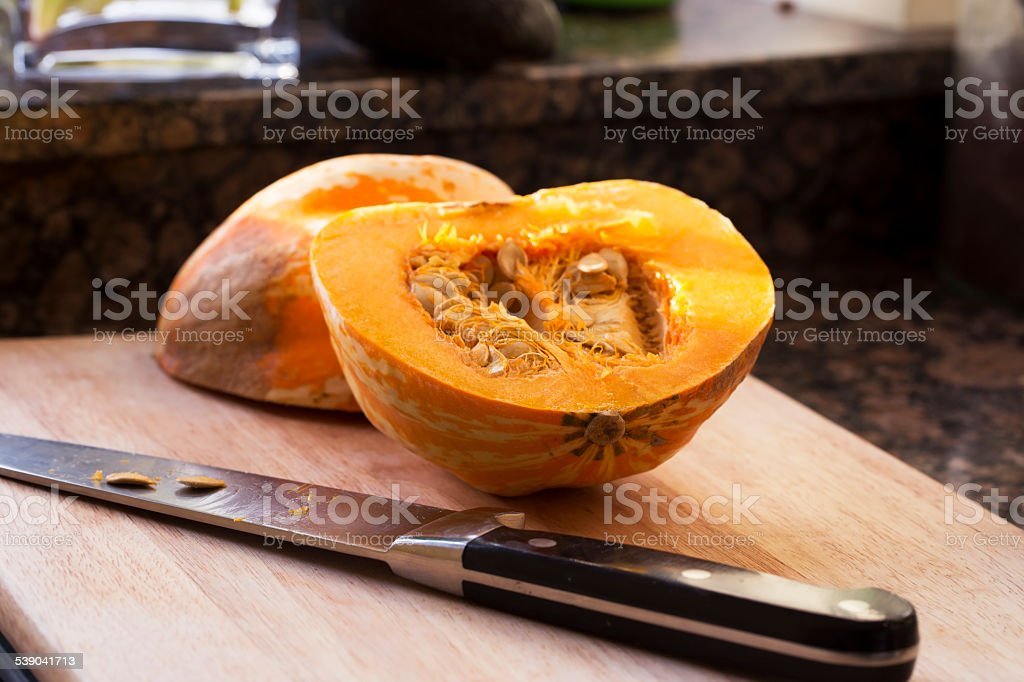Preparing Winter Squash stock photo