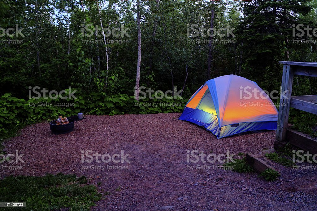 Prepped Camp Site Night royalty-free stock photo