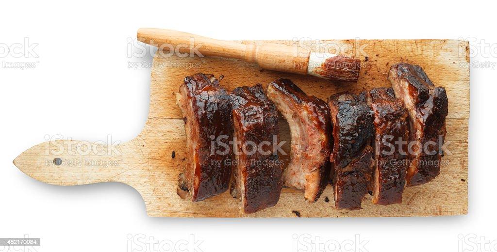 Prepped Pork Ribs on Cutting Board stock photo
