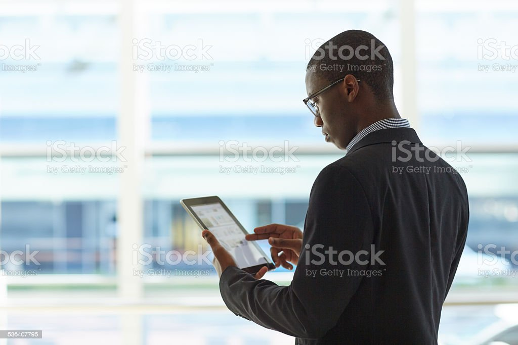 Prepping for his next meeting stock photo