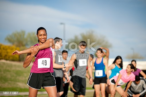 istock Pre-race stretching 185111961