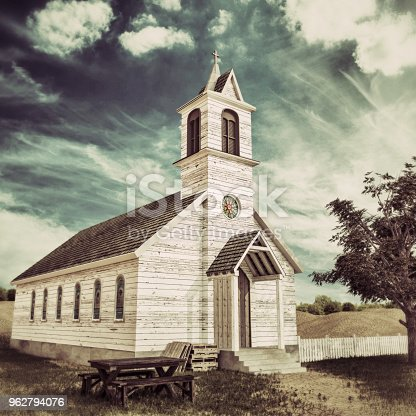 old wooden presbyterian church in the Texas desert 3d illustration