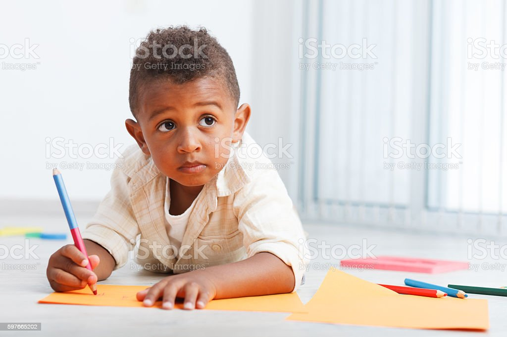 Preschool african child stock photo