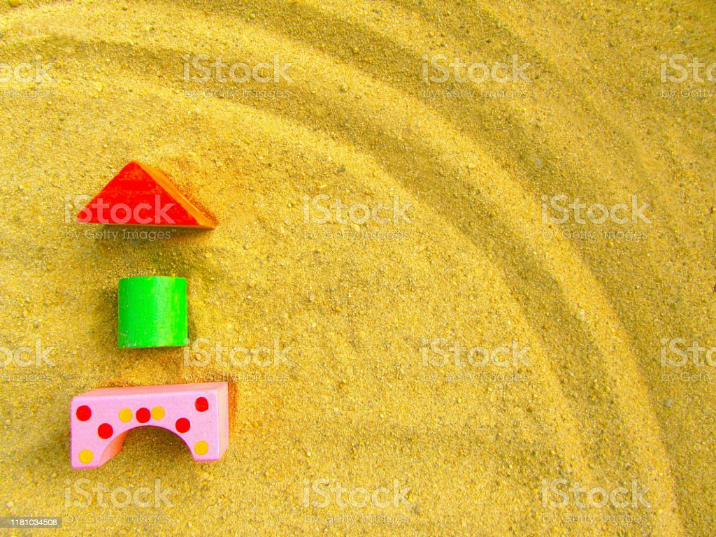Preschool Background Copy Space Colored Wooden Blocks Of The Designer Child Development And Parenting Invention And Creativity Concept Toys In The Sand House Or Building On The Sand Stock Photo Download