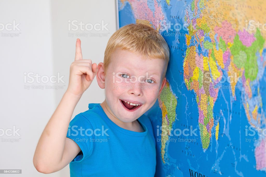 Preschool boy have an idea stock photo