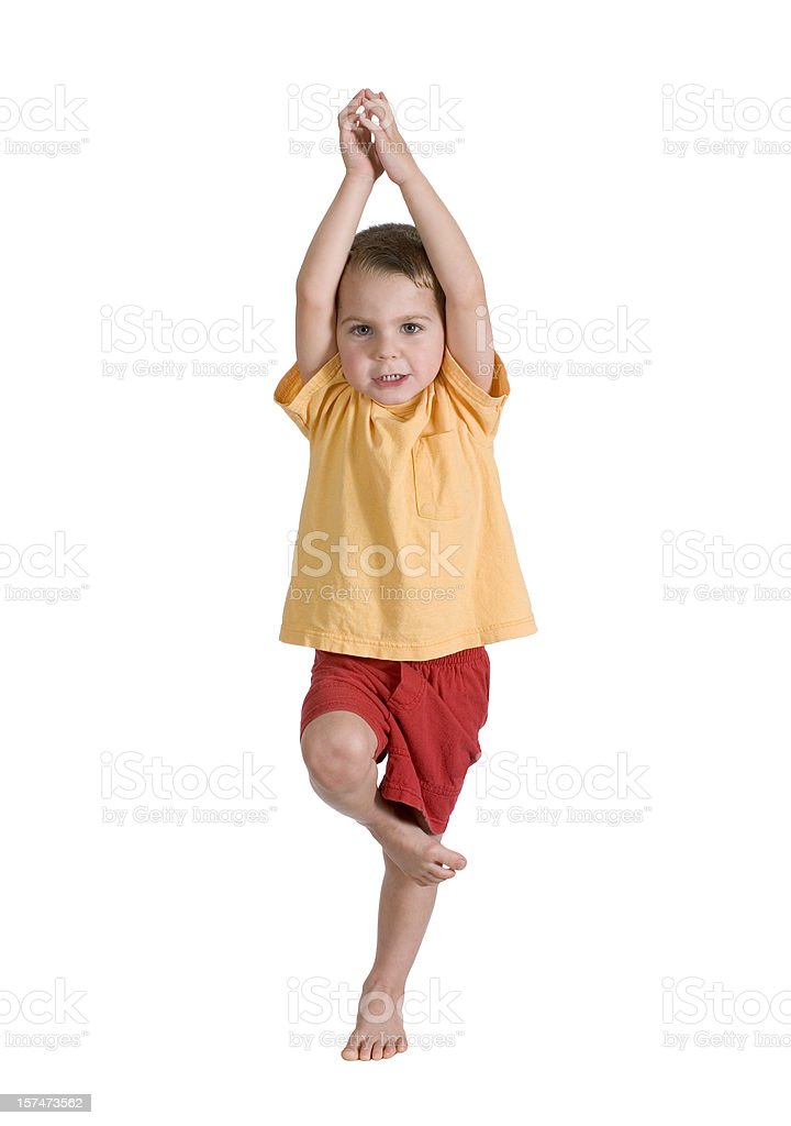 Preschool Boy Yoga Tree Pose Isolated, Clipping Path stock photo