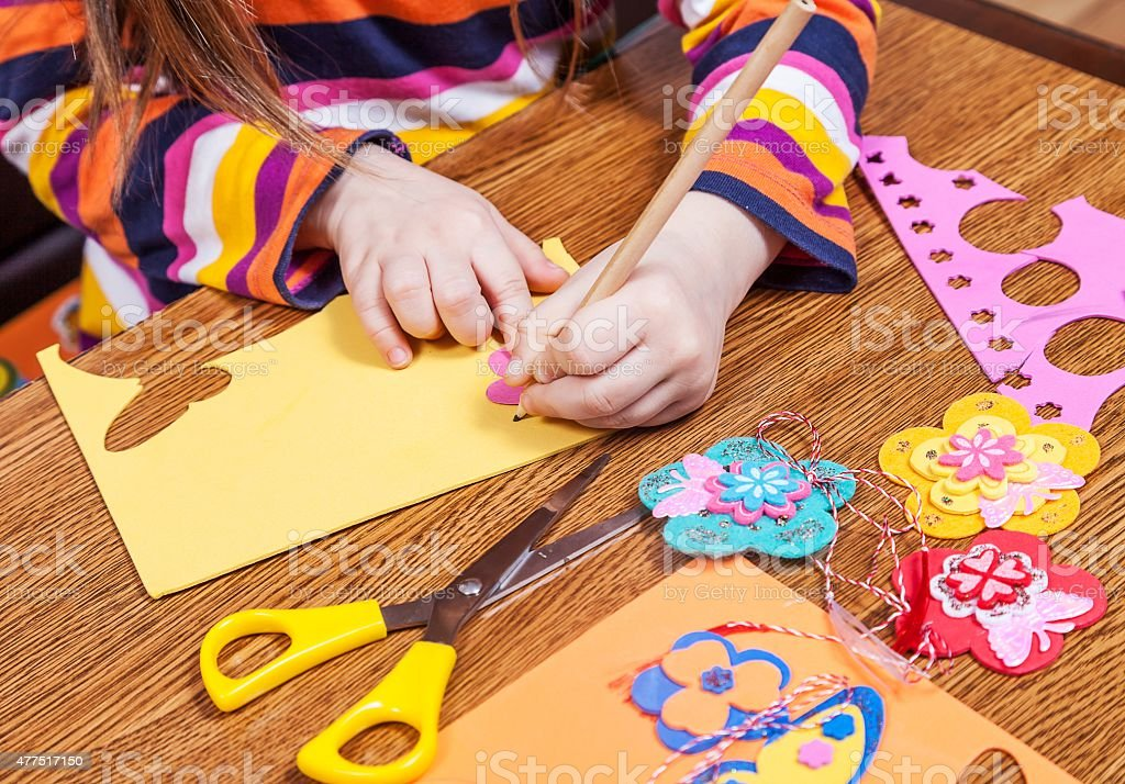 Preschool child create shapes and designs for children stock photo