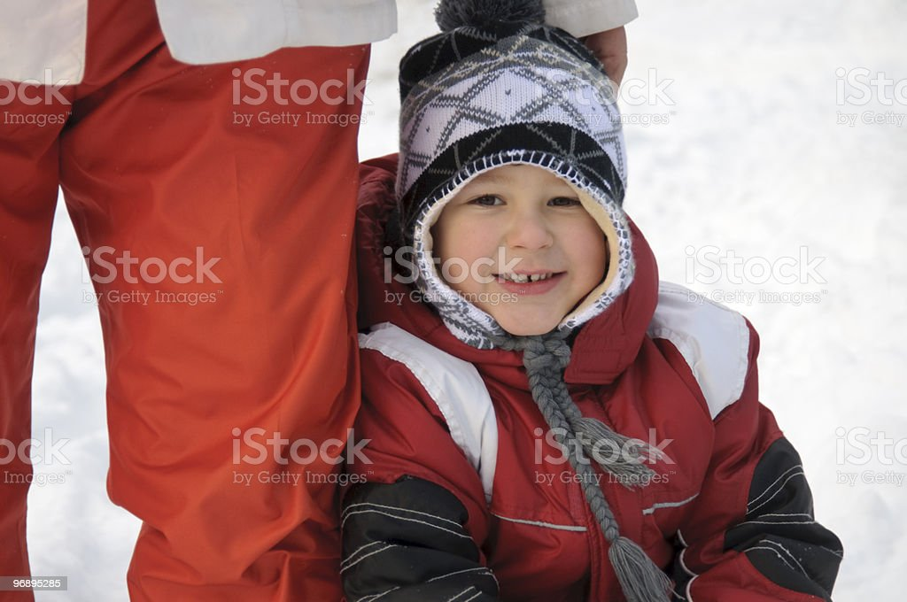 Preschool child in winter clothes royalty-free stock photo