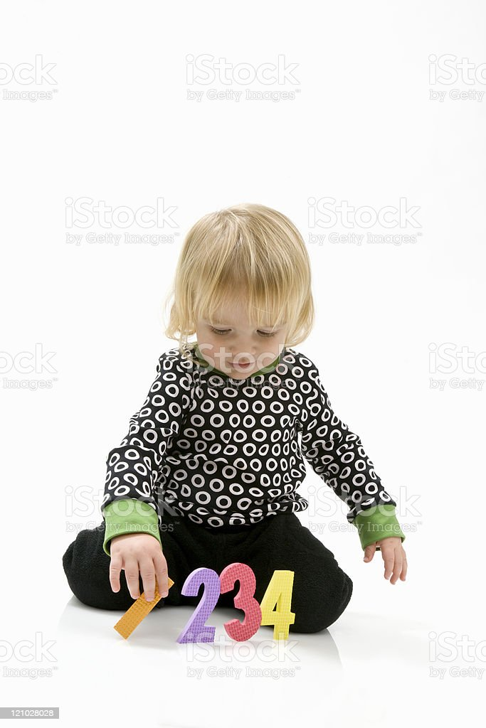 Preschool child learning numbers royalty-free stock photo