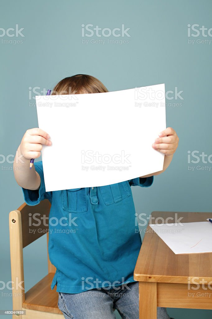 Preschool Child Showing Art Blank Page stock photo