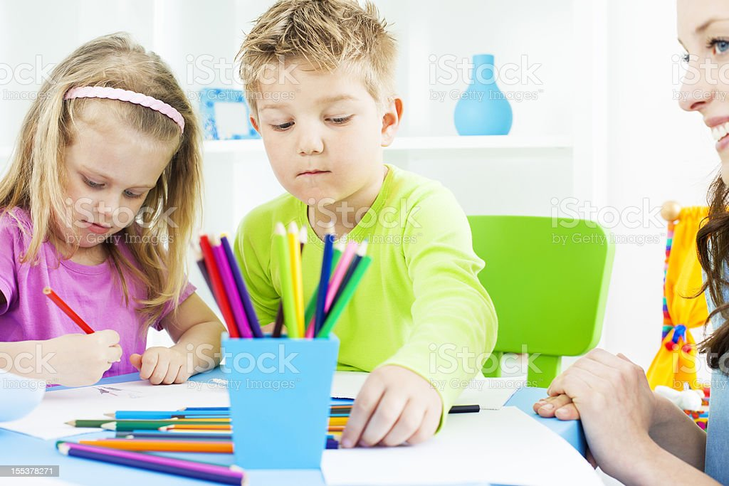 Preschool: Children Craft Activities Coloring and Drawing. royalty-free stock photo