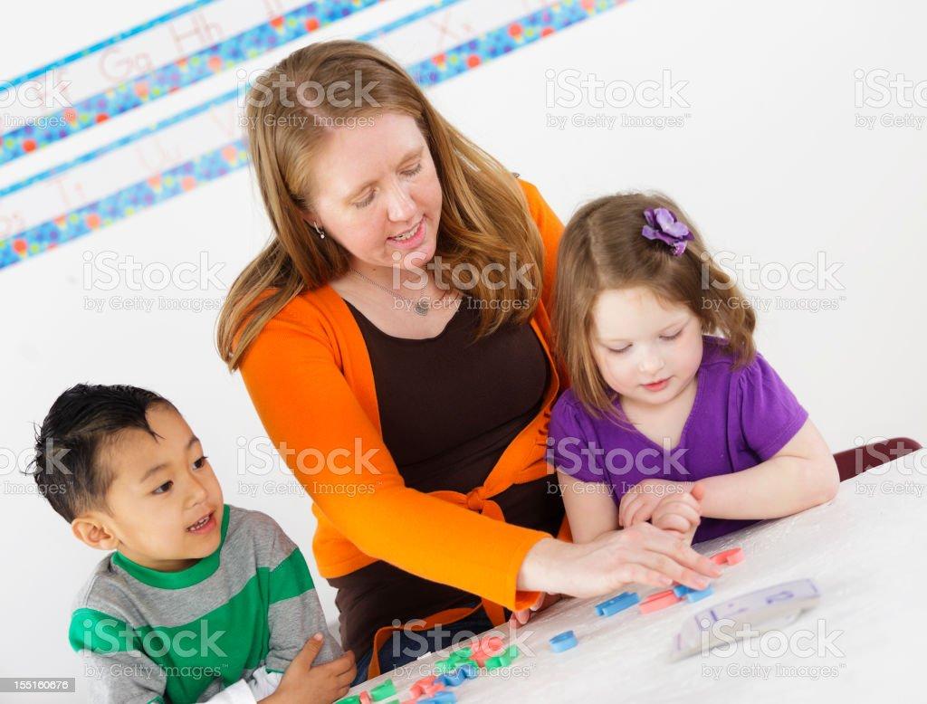 Preschool Children in a School Class royalty-free stock photo