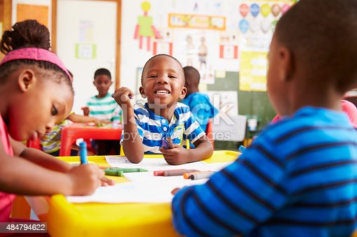 istock Preschool class in South Africa, boy looking to camera 484794622