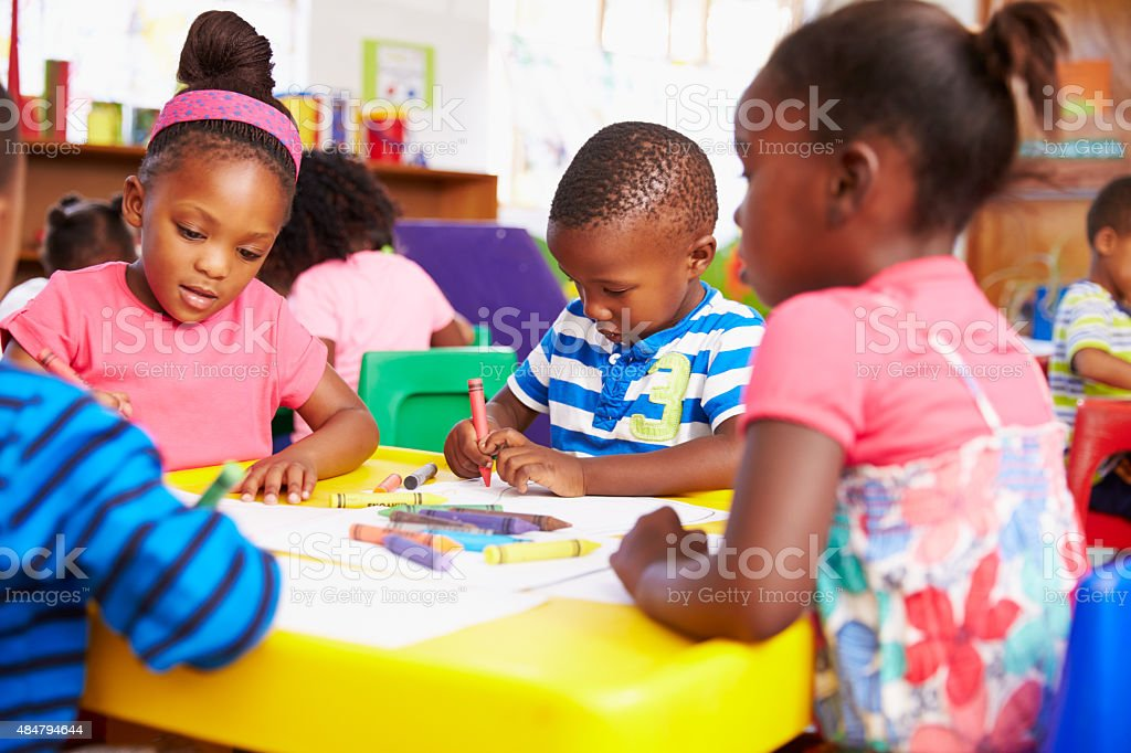 Preschool class in South African township, close-up stock photo