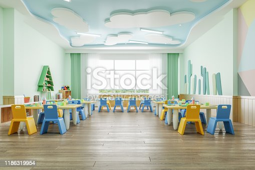 Interior of a modern empty kindergarten.