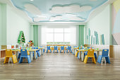 Interior of a modern empty kindergarten.