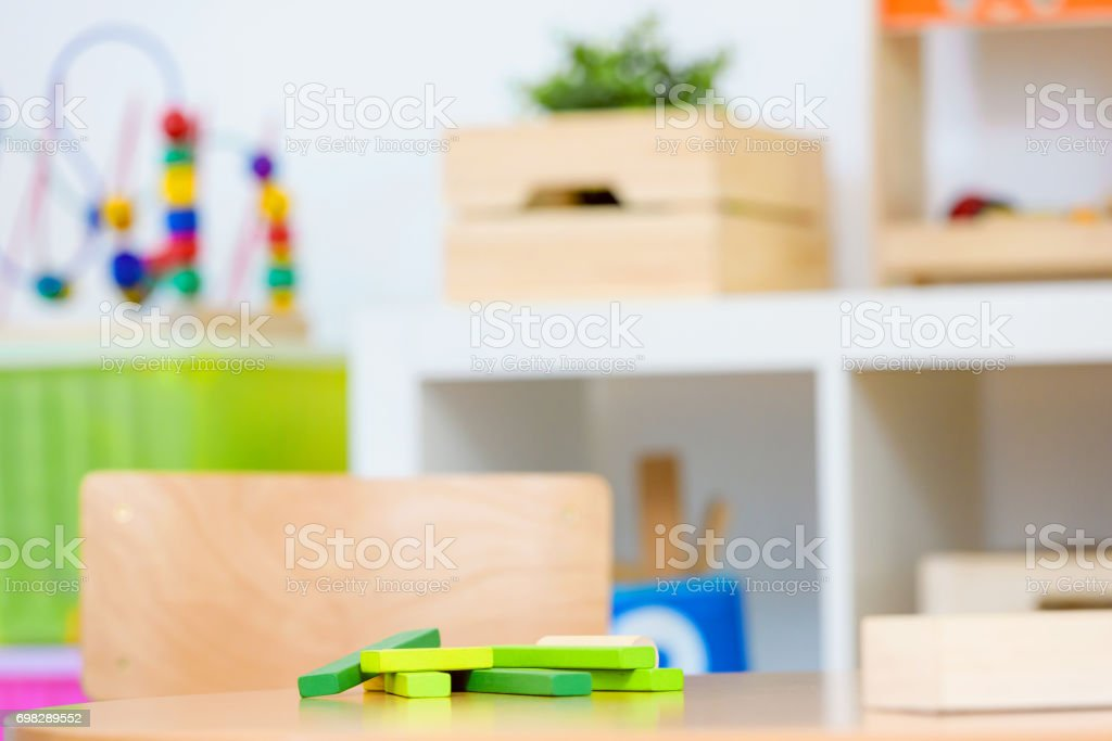 Preschool classroom with colorful didactic toys stock photo