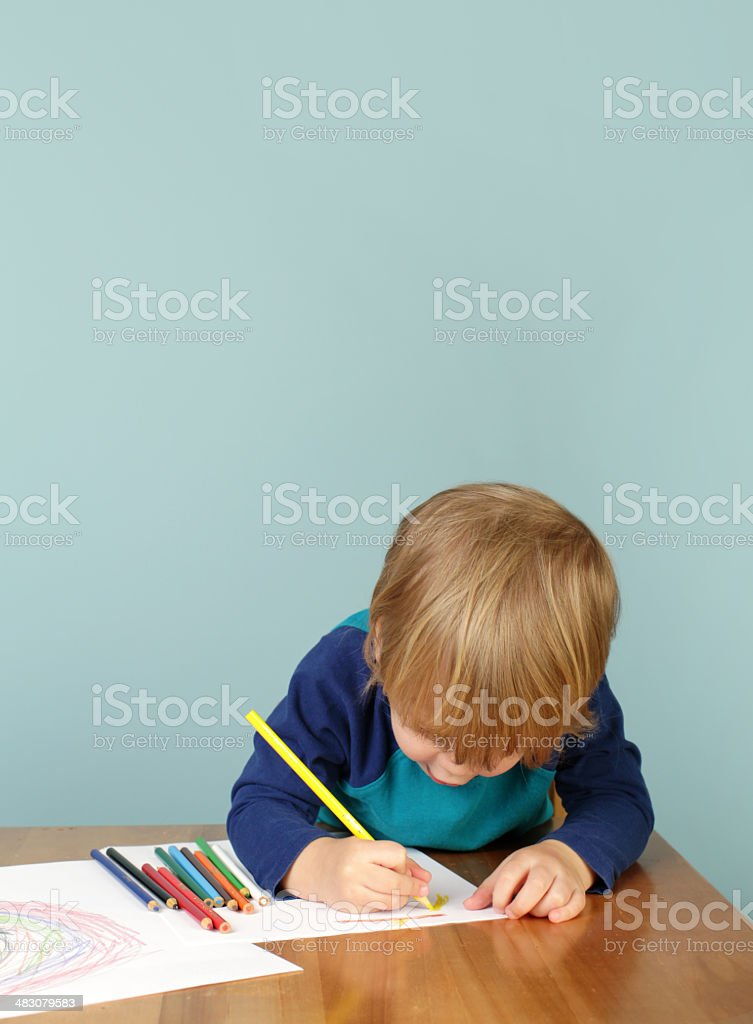 Preschool Education: Child Drawing stock photo