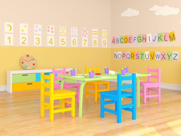 preschool game room - preschool building stock photos and pictures