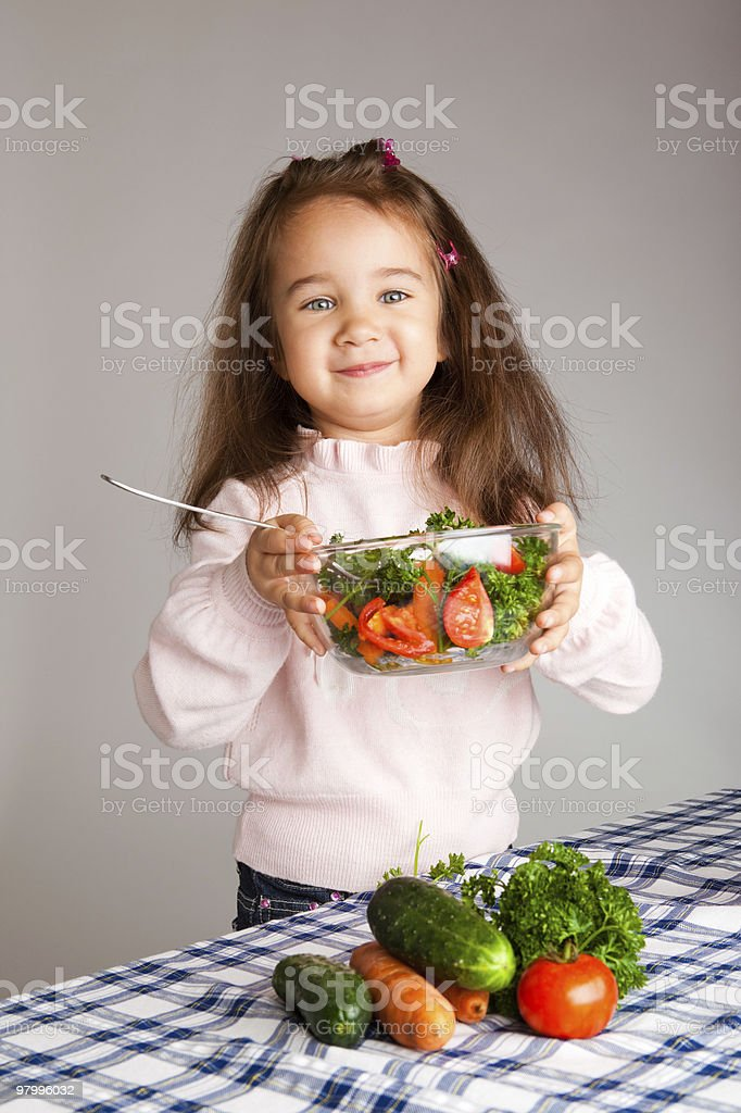 Preschool girl with healthy food royalty-free stock photo