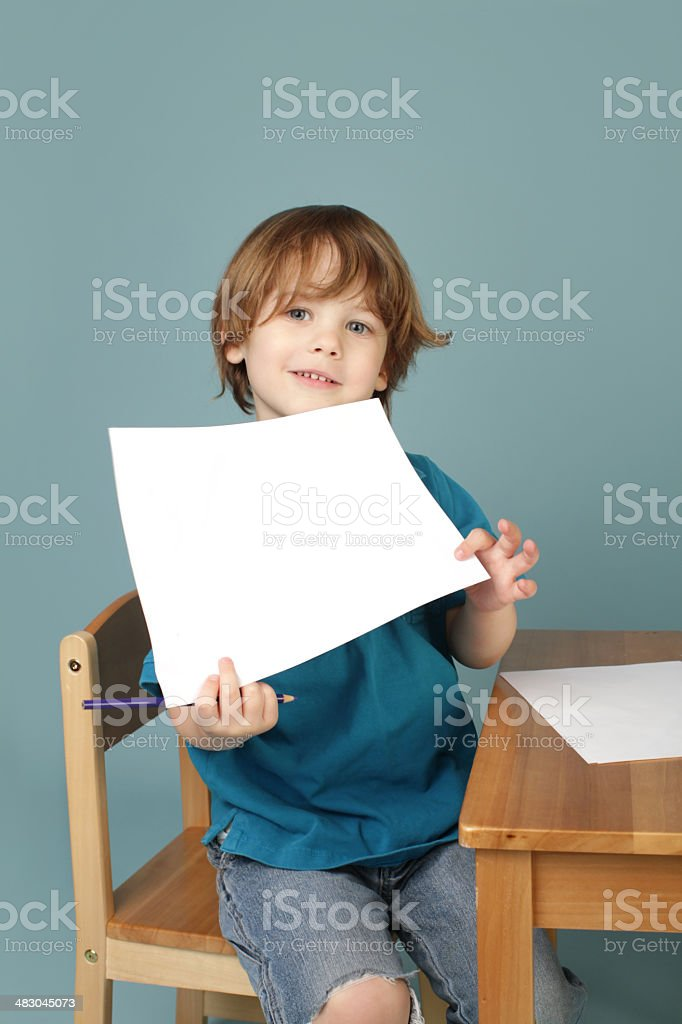 Preschool Learning: Child Showing Blank Page stock photo