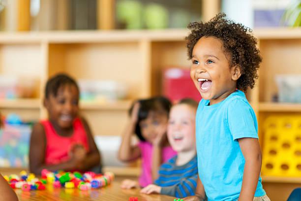 Preschool Diverse group of preschoolers. preschool student stock pictures, royalty-free photos & images