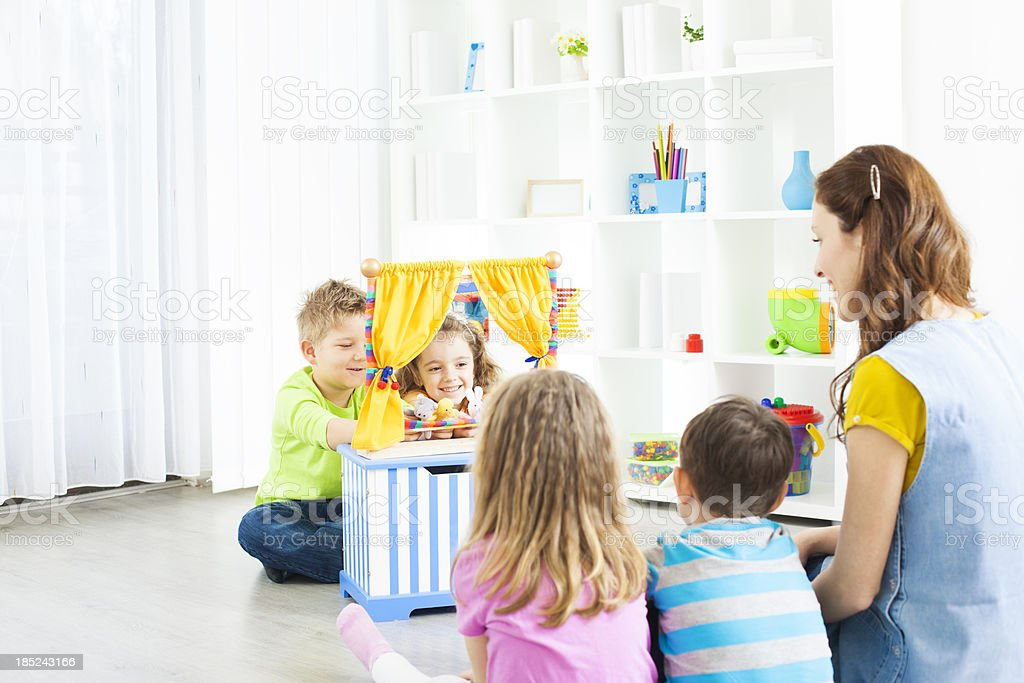Preschool: Preschoolers Craft Activities Puppet Show. stock photo