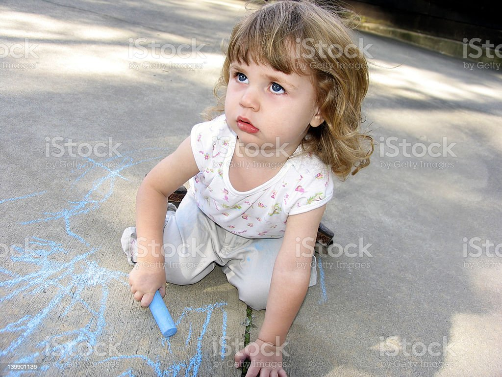 Pre-school sidewalk chalk royalty-free stock photo