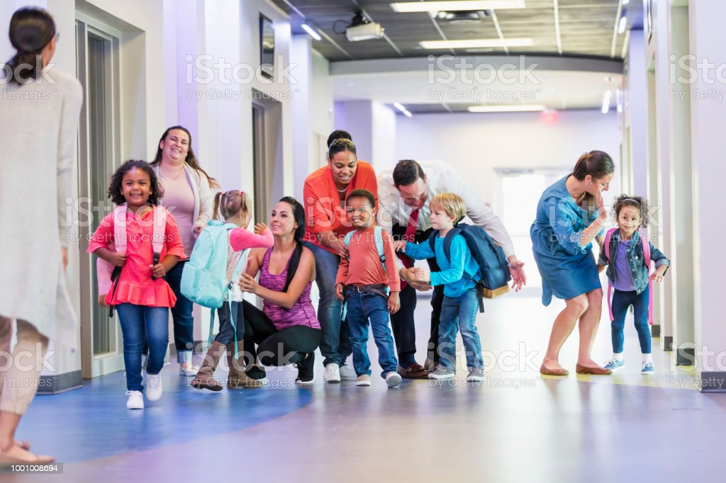 Preschool students and parents, first day of school stock photo
