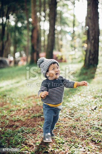 istock Preschooler Exploring the Woods 874110392