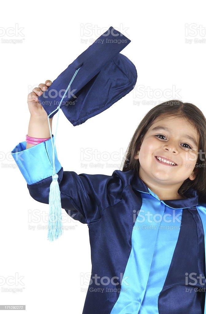 Preschooler wearing graduation gown royalty-free stock photo