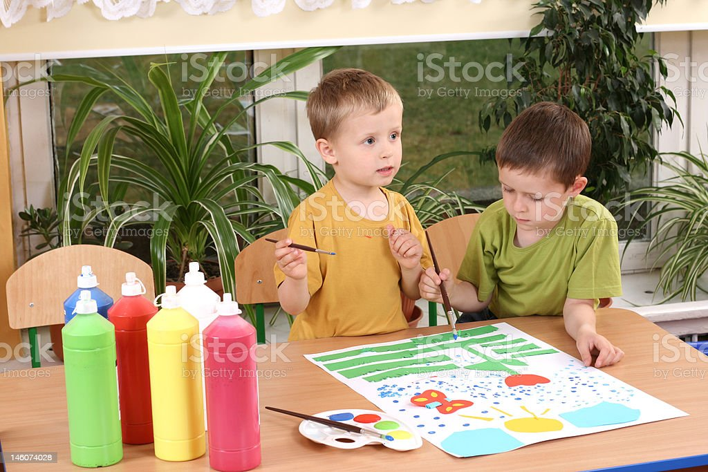 preschoolers and painting royalty-free stock photo
