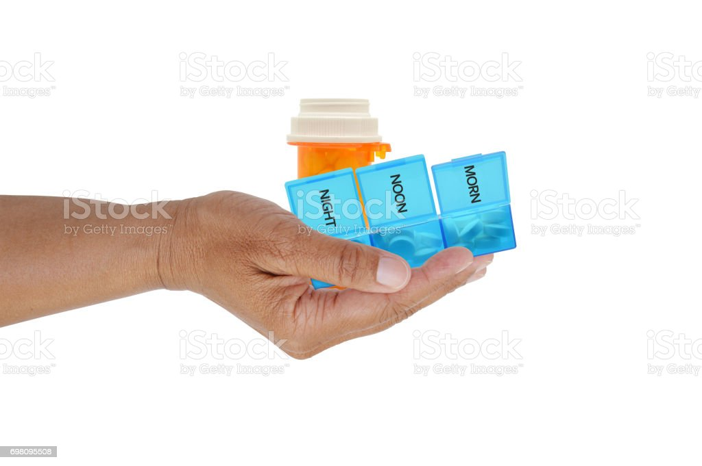 Presciption Drugs in Hand stock photo