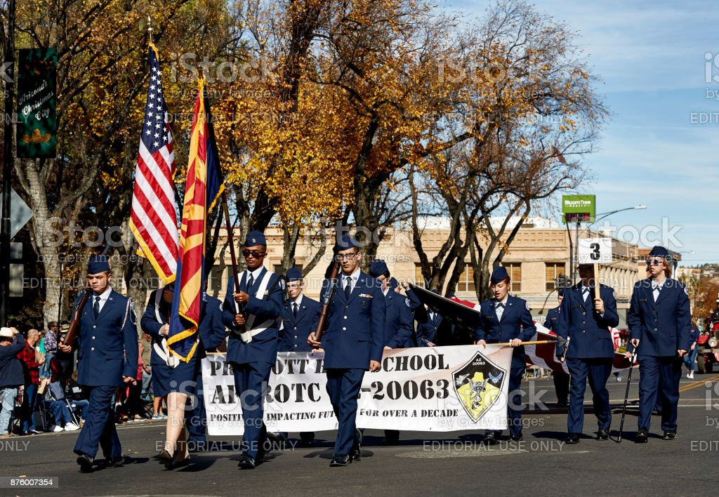 Prescott High School AF ROTC in Veterans day Parade stock photo